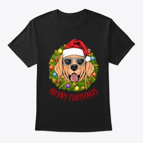 Golden In Christmas Wreath Tshirt Black T-Shirt Front