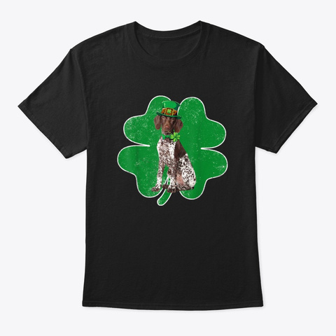 German Shorthaired Pointer Patrick's Day Black T-Shirt Front