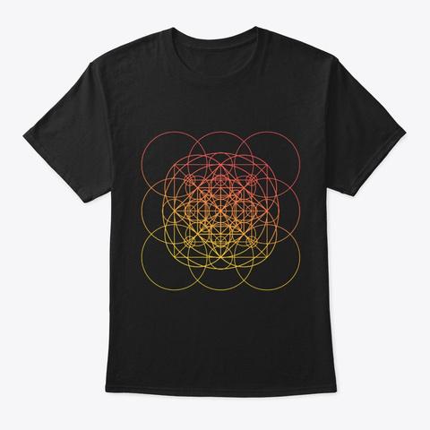 Sacred Geometry Orange Squared Circles Black T-Shirt Front