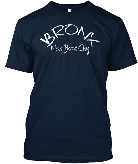 Bronx New York City New Navy T-Shirt Front