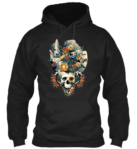 Skull And Flowers Shirt Black T-Shirt Front