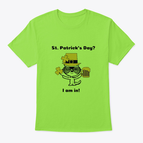 St. Patrick's Kitty Lime T-Shirt Front