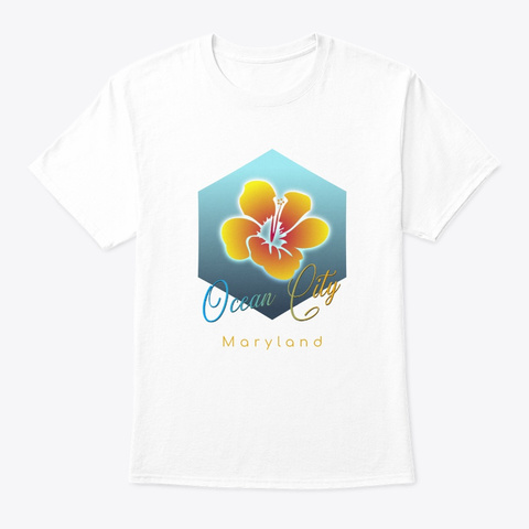 Ocean City Maryland Surfing Beach White T-Shirt Front
