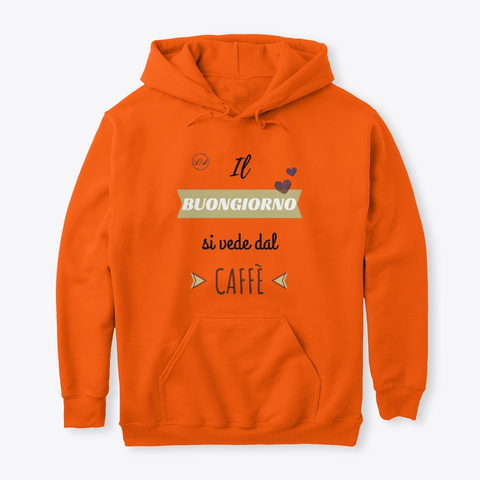 Buongiorno E Caffè   Learn Amo Collection Safety Orange T-Shirt Front