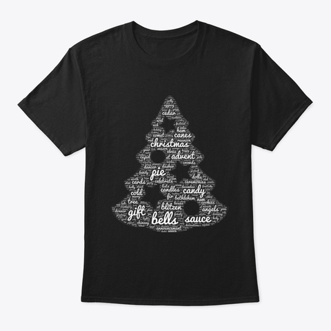 Christmas Tree Word Cloud Holidays Merch Black T-Shirt Front
