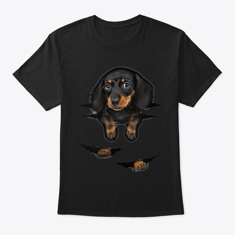 Dachshund 2 Black T-Shirt Front