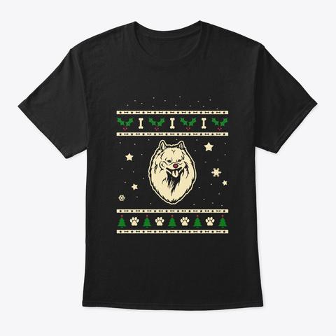 Christmas Japanese Spitz Gift Black T-Shirt Front