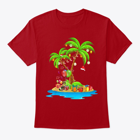 Tropical Xmas Coconut Lights Pajama Tee Deep Red T-Shirt Front