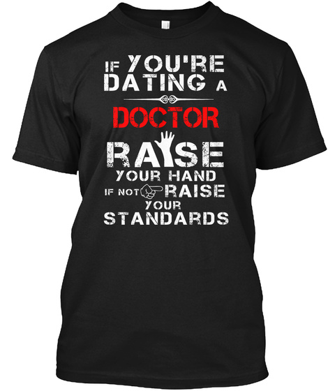 Raise Hand  Doctor Black T-Shirt Front