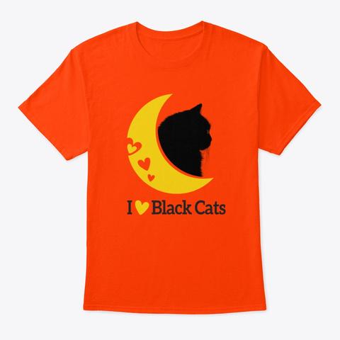 I Love Black Cats Orange T-Shirt Front