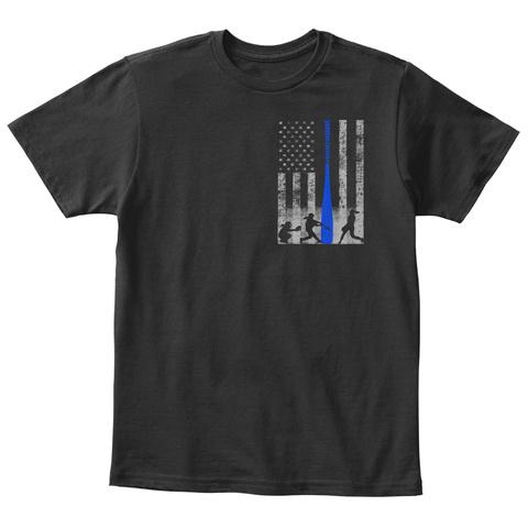 Kid's Softball Flag W/ Blue Bat Black T-Shirt Front