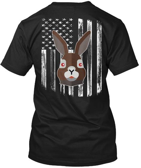 American Flag Hare 4th Of July Tee Shirt Black T-Shirt Back