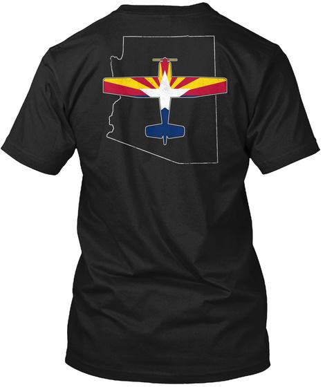 Az Aviation Airplane Plane Flying Black T-Shirt Back