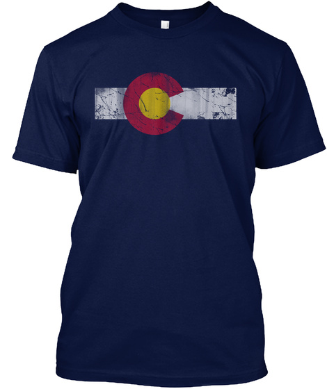Vintage State Flag Of Colorful Colorado Navy T-Shirt Front