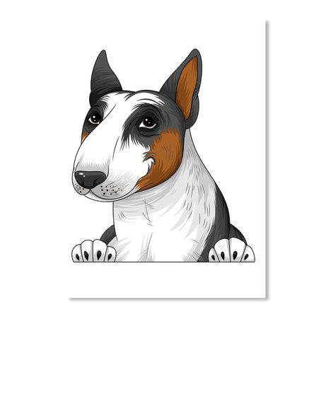 Bull Terrier Decal 01 White T-Shirt Front