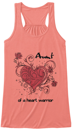 Aunt Of A Heart Warrior Coral T-Shirt Front
