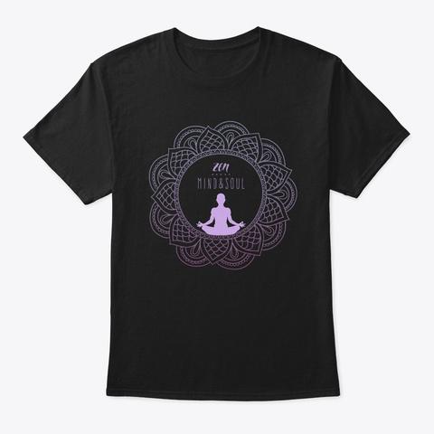 Relaxing Yoga Zen Calligraphy Buddhist Black T-Shirt Front