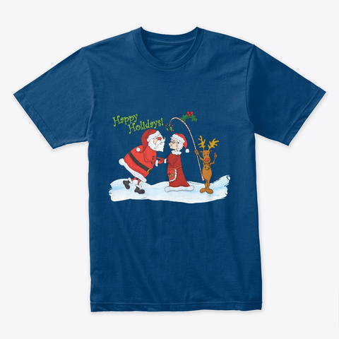 Santa Mrs. Claus Mistletoe Moose Cool Blue T-Shirt Front