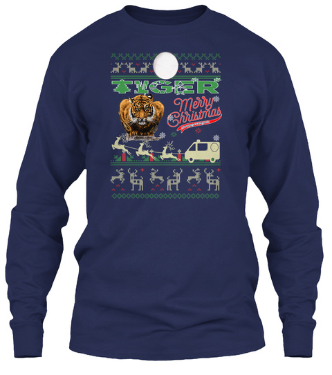 Tiger   Merry Christmas Navy T-Shirt Front