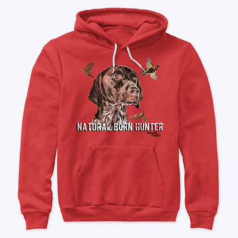 Muddy Paws Gsp Nbh Natural Born Hunter Red T-Shirt Front