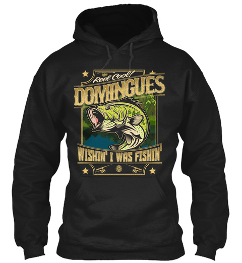 Domingues Fishing Gift Black T-Shirt Front