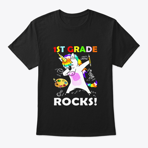 Dabbing 1st Grade Rocks Unicorn Tshirt Black T-Shirt Front