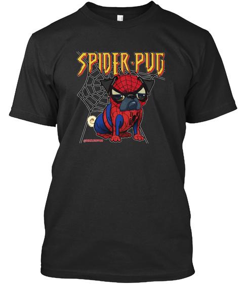 Spider Pug Black T-Shirt Front