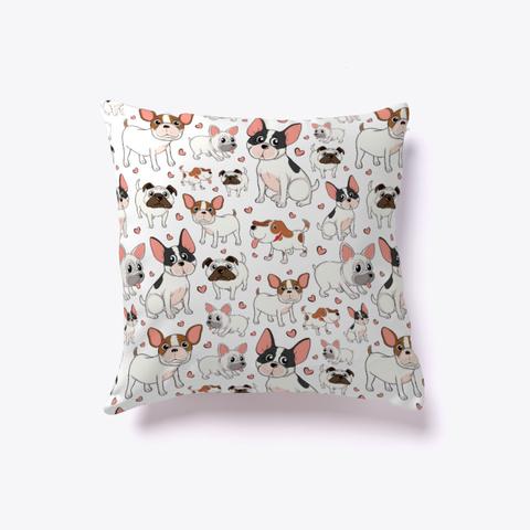 Bulldog Pillow | Bulldog Throw Pillows  White T-Shirt Front