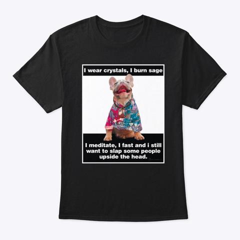 The Hippie Pug Black T-Shirt Front
