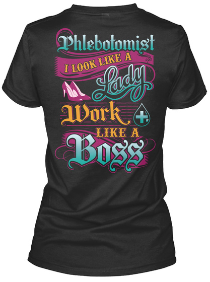 Proud Phlebotomist Black T-Shirt Back