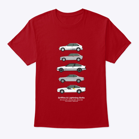 Vauxhall Opel Performance Classic Cars  Deep Red T-Shirt Front
