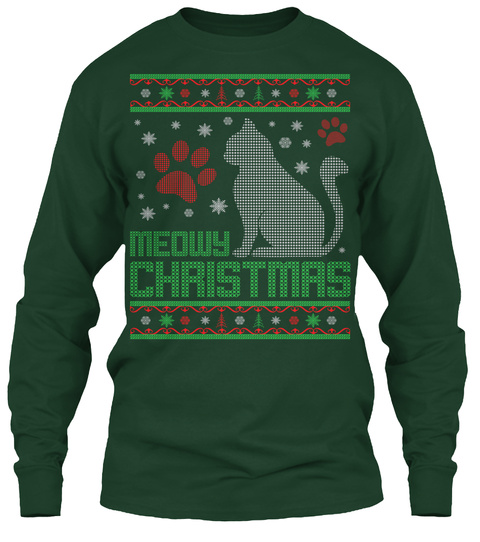Meowy Christmas Forest Green T-Shirt Front