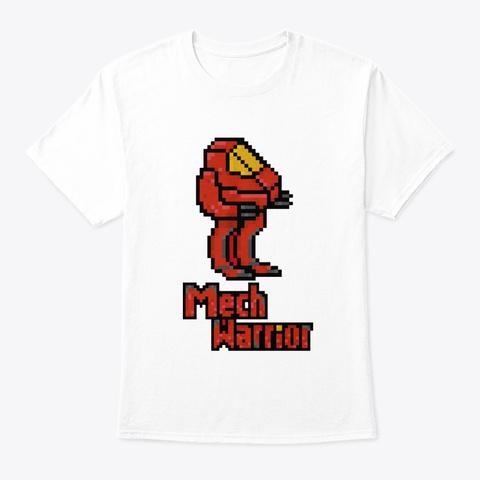 Mech Warrior Pixel Art T Shirt White T-Shirt Front