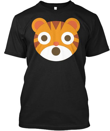 Tiger Emoji Shocked And Surprised Look Black T-Shirt Front