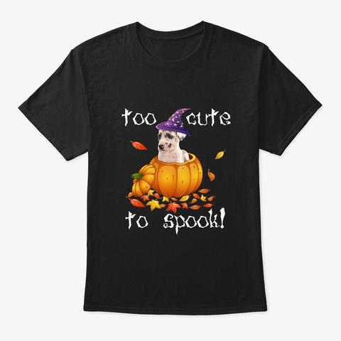 Great Dane Too Cute To Spook Halloween Black T-Shirt Front