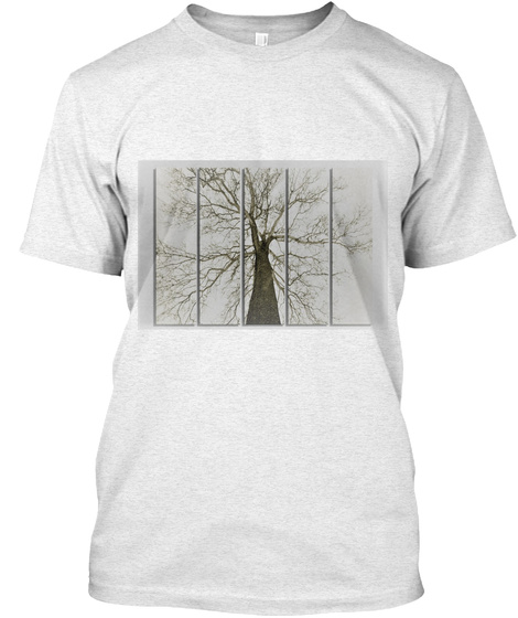 Trees From Below Heather White T-Shirt Front