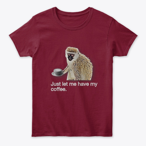 Monkey Coffee Cardinal Red T-Shirt Front