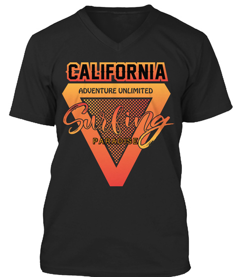 Surfing Paradise California T Shirt Black T-Shirt Front