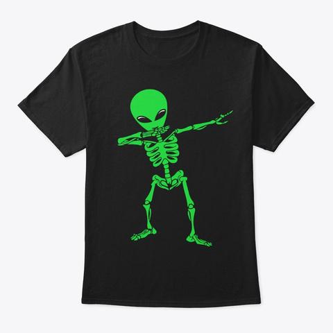 Funny Dabbing Alien Skeleton Black T-Shirt Front