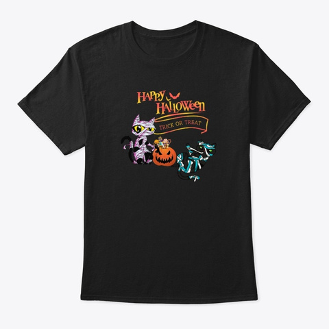 Happy Halloween Mummy Cats Black T-Shirt Front