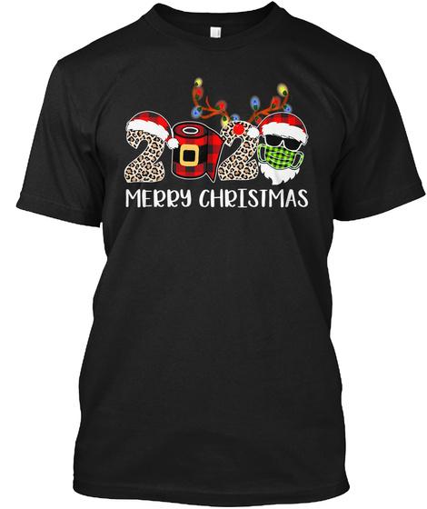 Merry Christmas 2020 Santa Face Mask Black T-Shirt Front