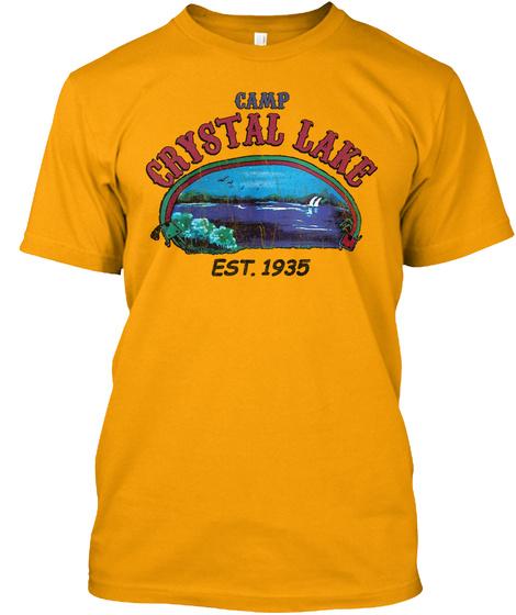 Camp Crystal Lake Est. 1935 Gold T-Shirt Front