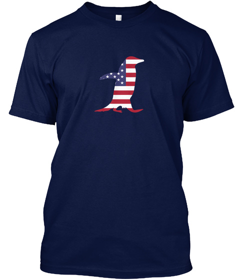 4th Of July   Penguin Navy T-Shirt Front