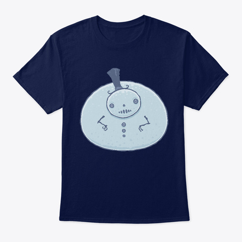 Pudgy Snowman Navy T-Shirt Front