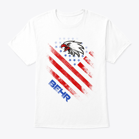 Behr Name Tee In U.S. Flag Style White T-Shirt Front