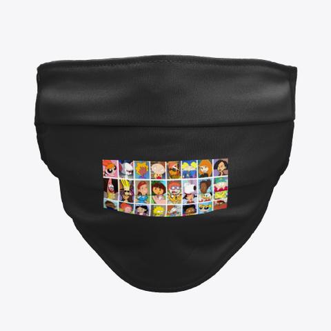 Face Mask Cartoonito Black T-Shirt Front