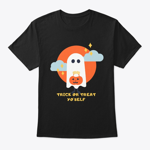 Trick Or Treat Halloween Ghost Graphic Black T-Shirt Front