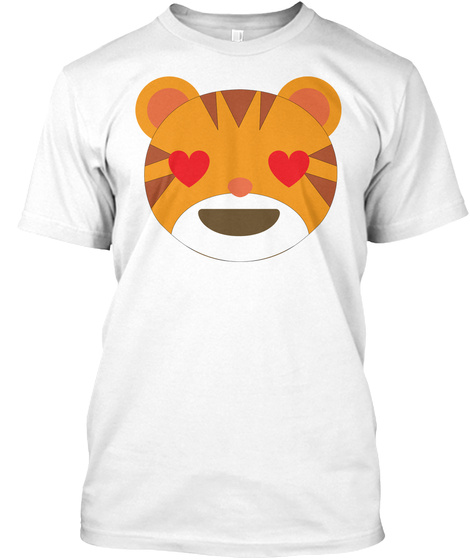 Tiger Emoji Love And Heart Eyes White T-Shirt Front