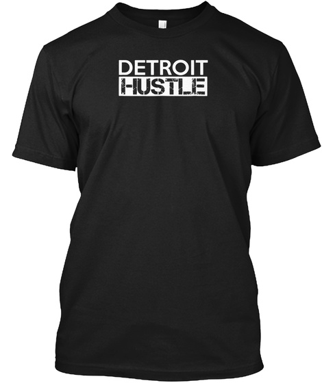 Detroit Hustle Baseball Football Busines Black T-Shirt Front