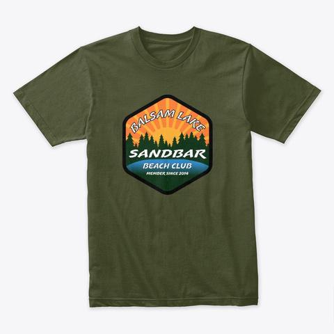 Balsam Lake Sandbar Beach Club Military Green T-Shirt Front